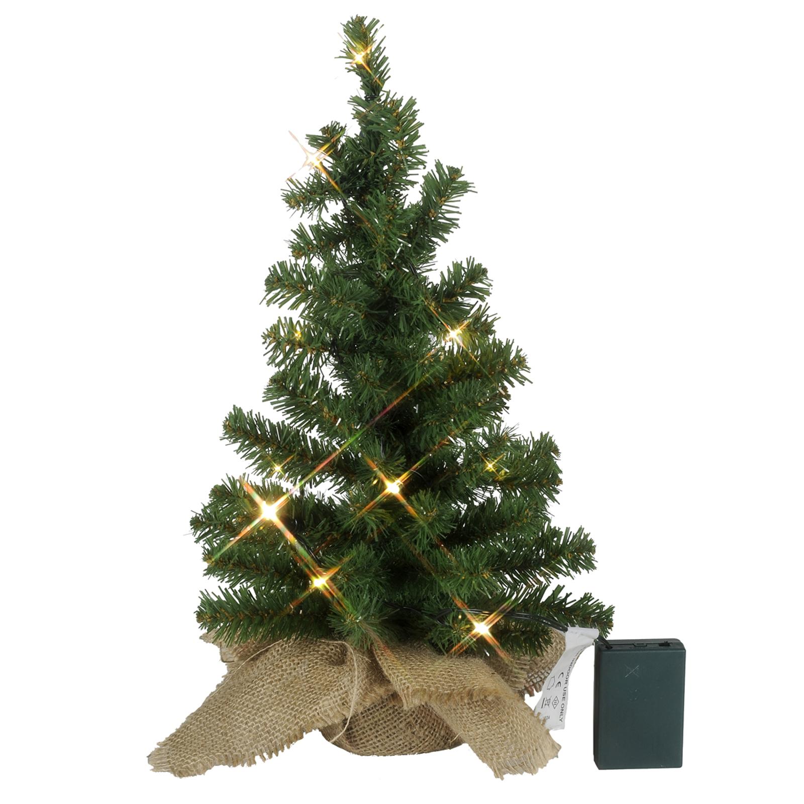 Tree-LED-joulukuusi juuttisäkissä