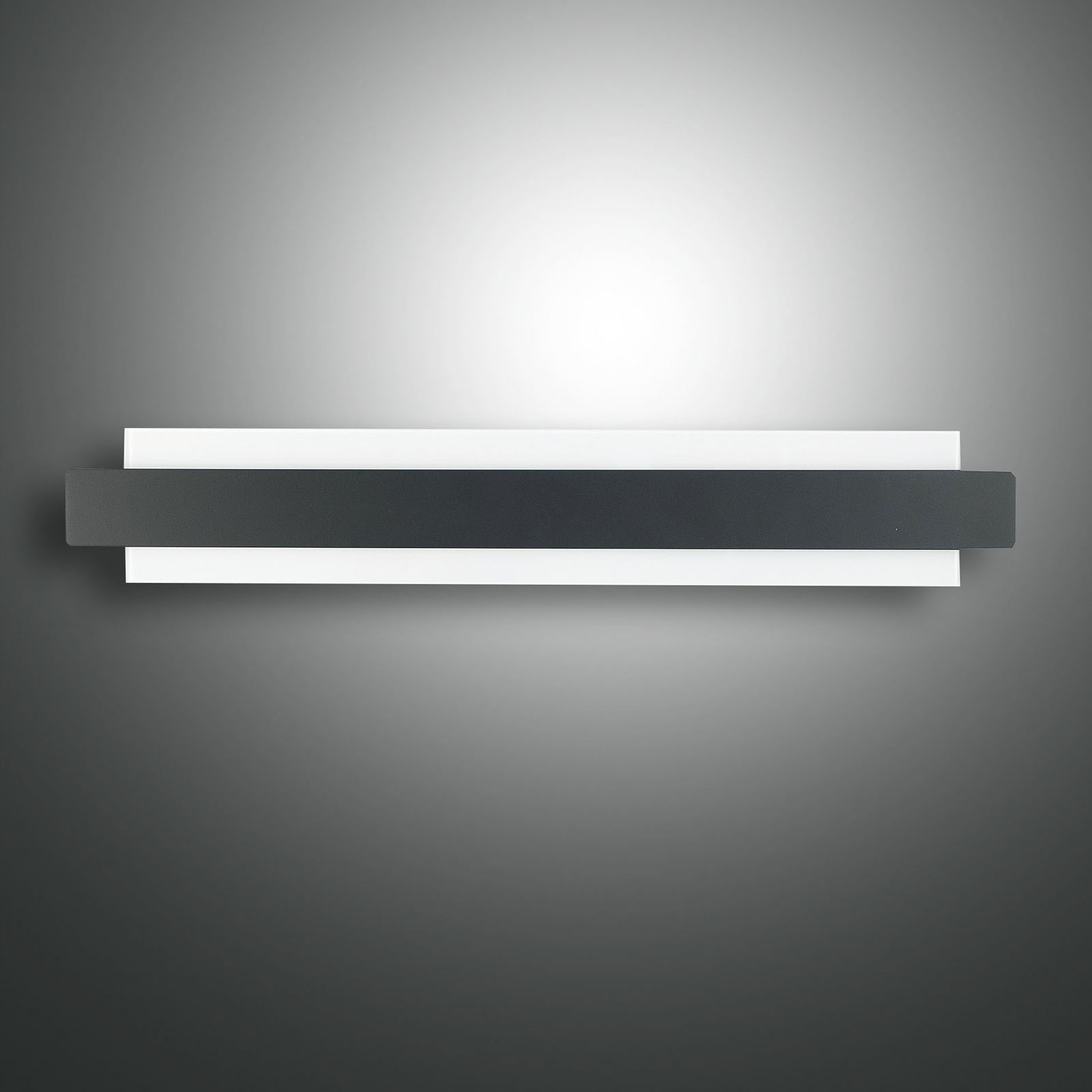 Applique LED Regolo con fronte metallico nero