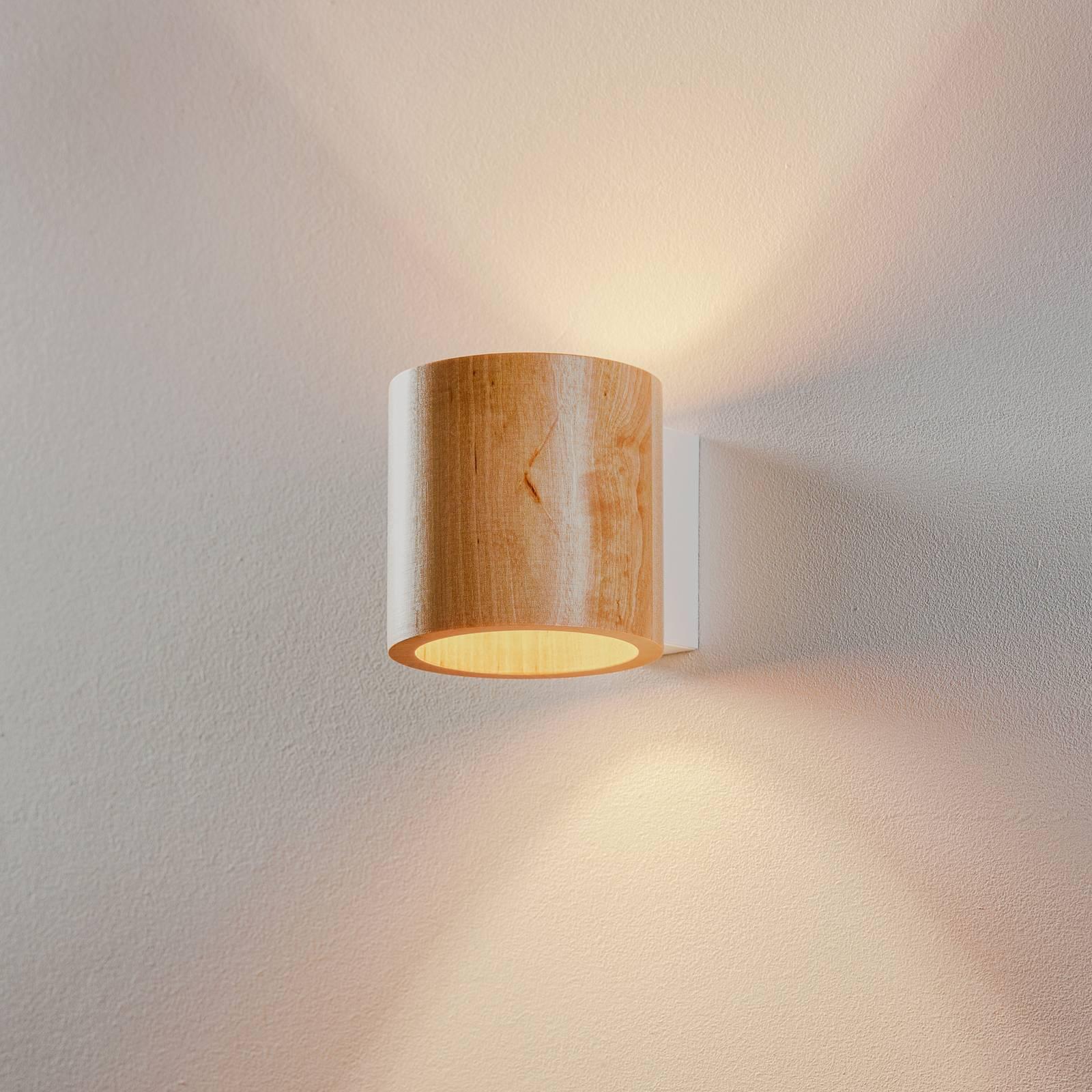 Wandlamp Ara als cilinder van hout