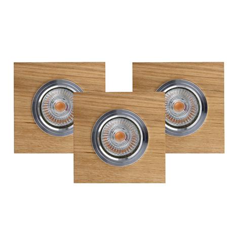 Lámpara de techo LED empotrada Vitar, roble, set 3
