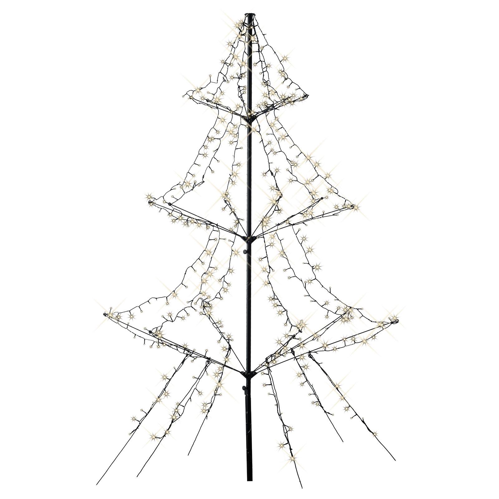 Arbre LED avec piquet, 3 étages, 420 lampes 200cm