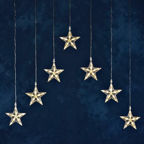 Ljusgardin LED med 7 stjärnor, varmvit