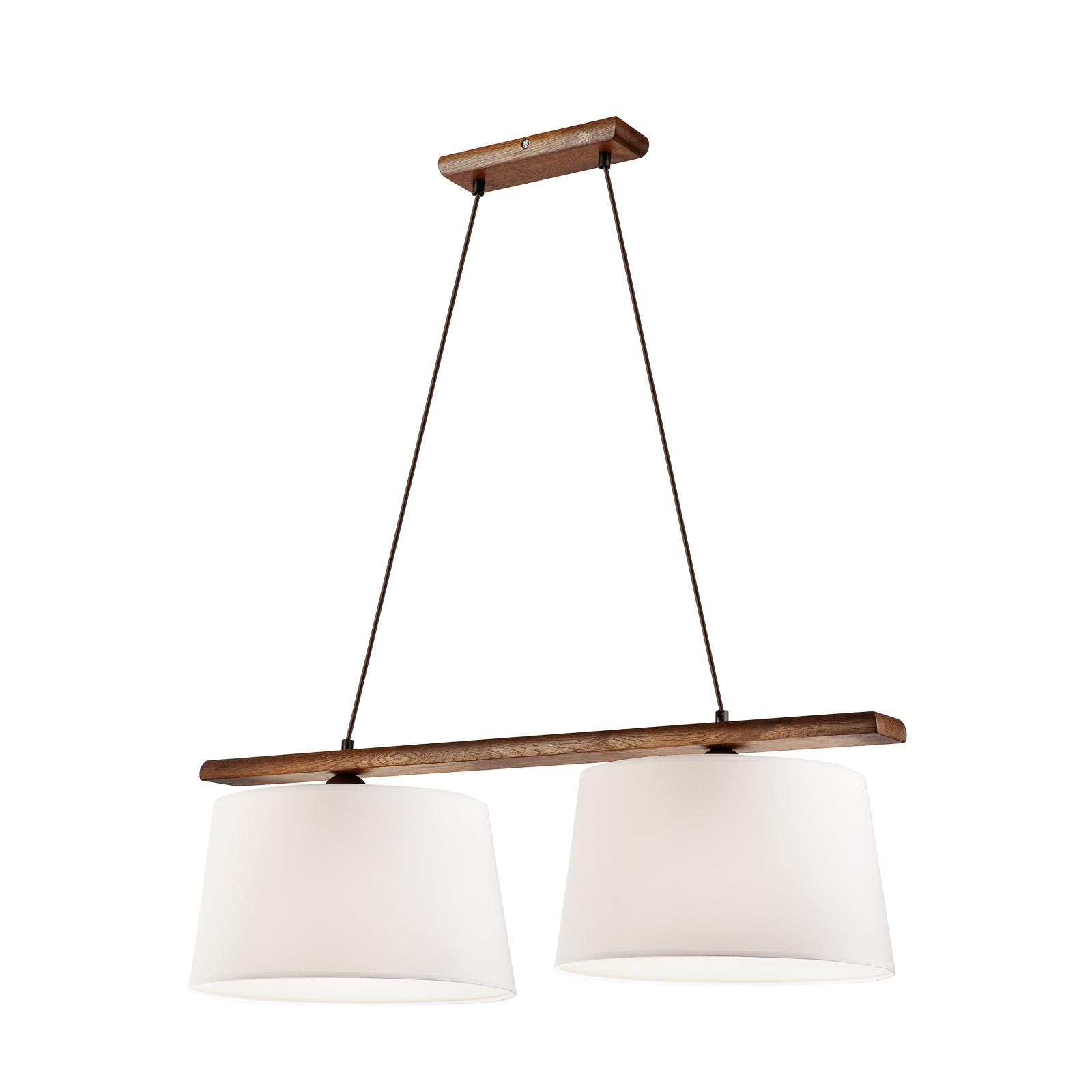 Sweden hængelampe, 2 lyskilder, nøddetræ, eg
