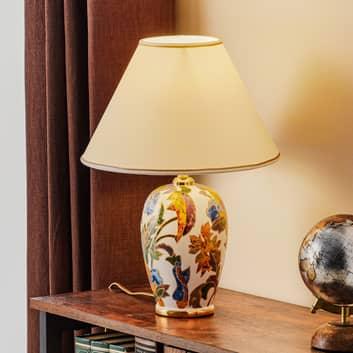 Lámpara de mesa Damasco, oro 24 quilates, cerámica