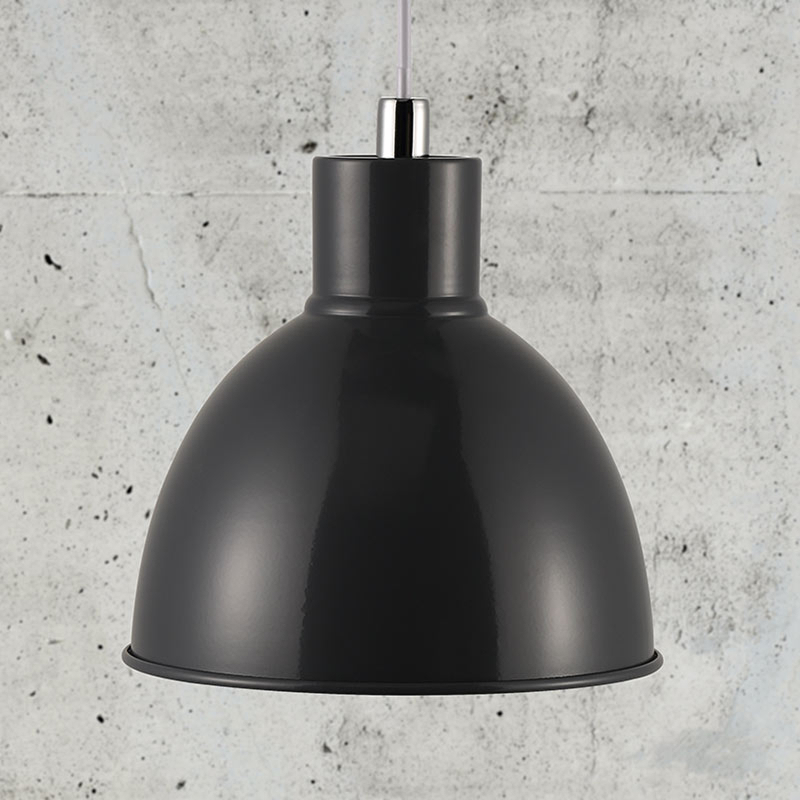 Hanglamp Pop met metalen kap, antraciet