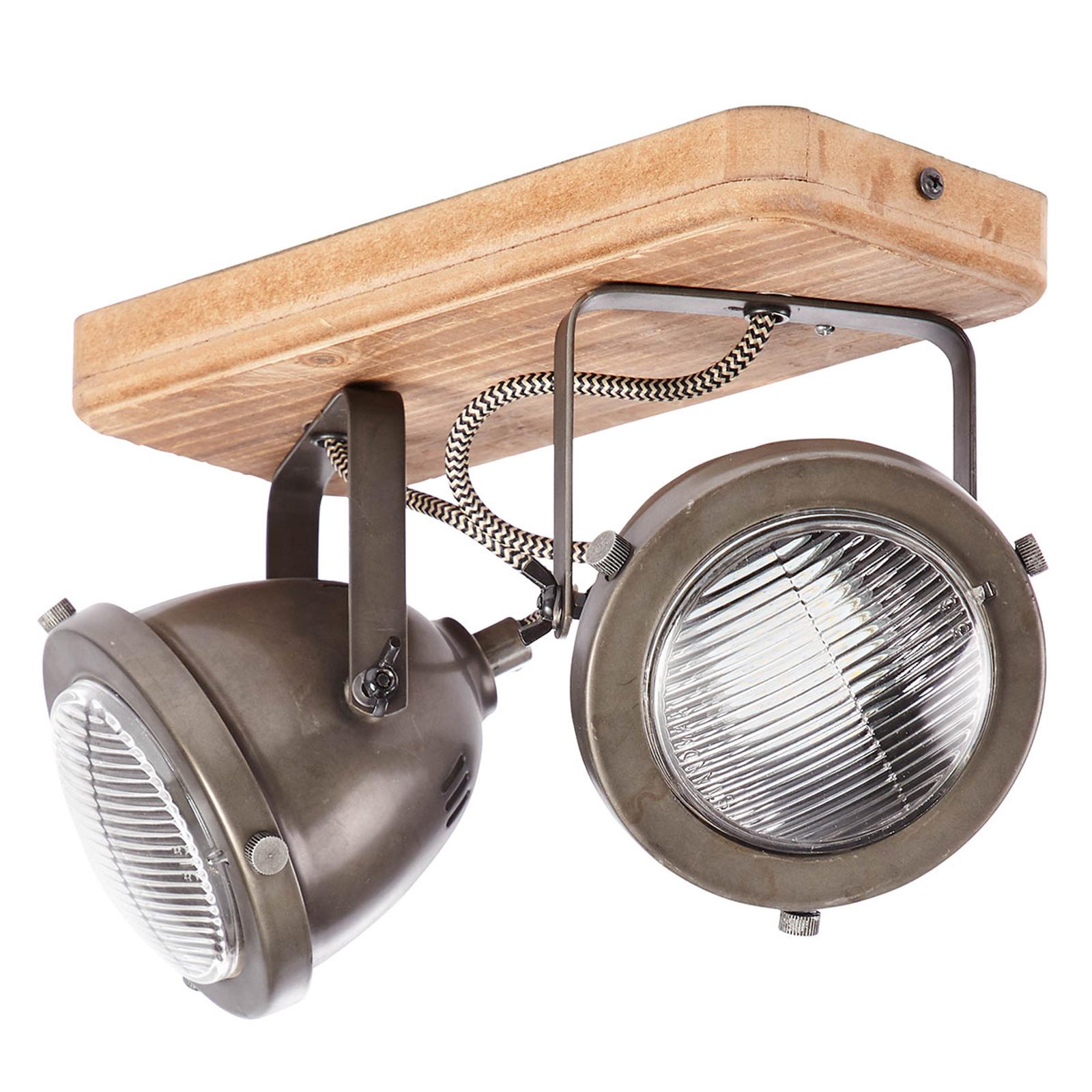 Plafonnier Carmen Wood, look industrie 2 lampes