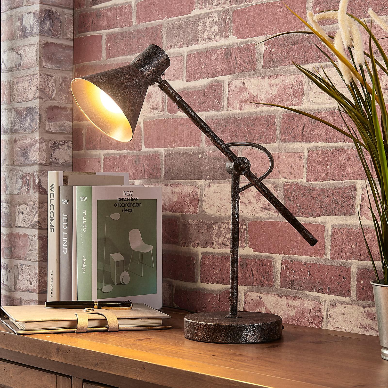 Rostfärgad LED-bordslampa Zera, easydim
