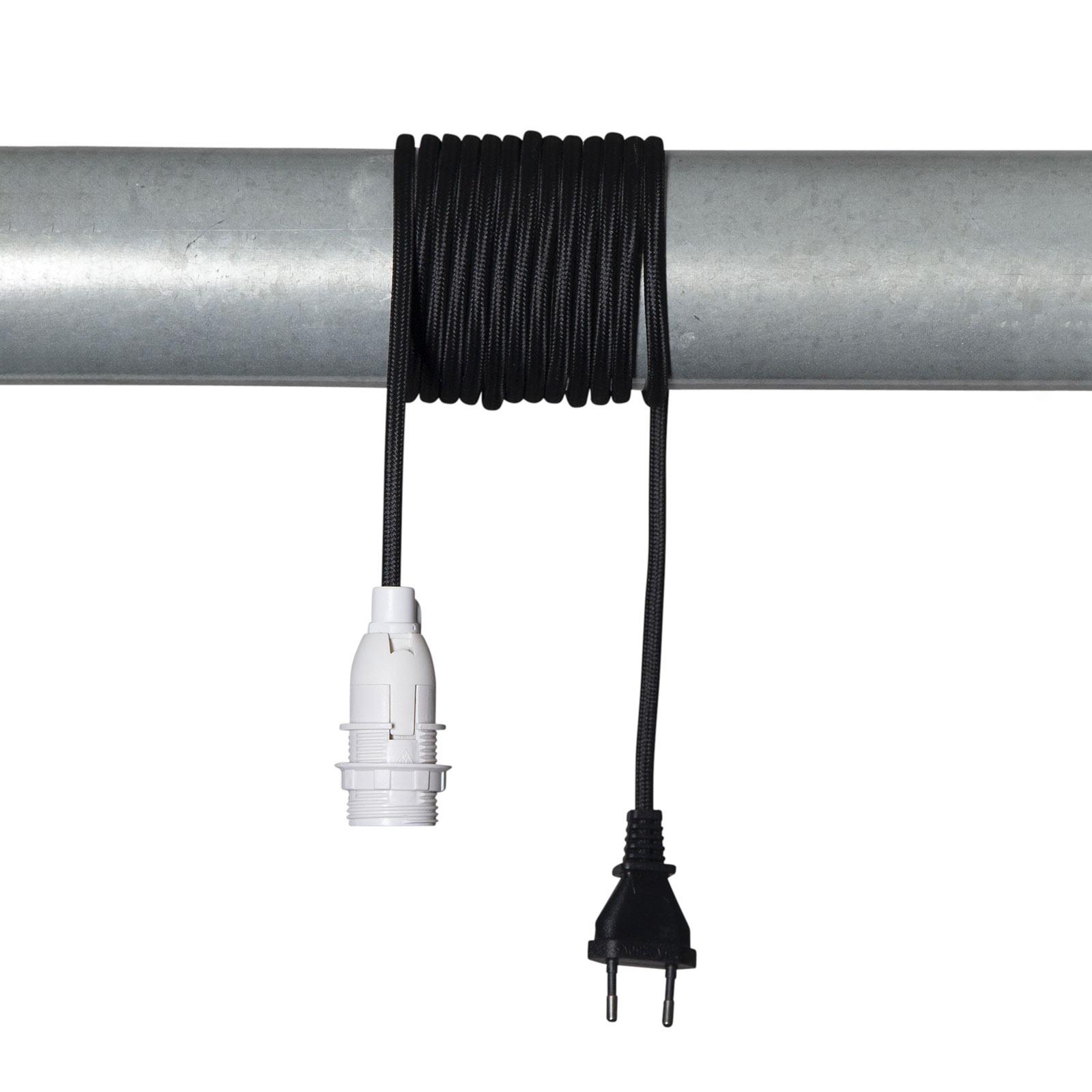 E14-fatning Lacy med kabel, svart og hvit