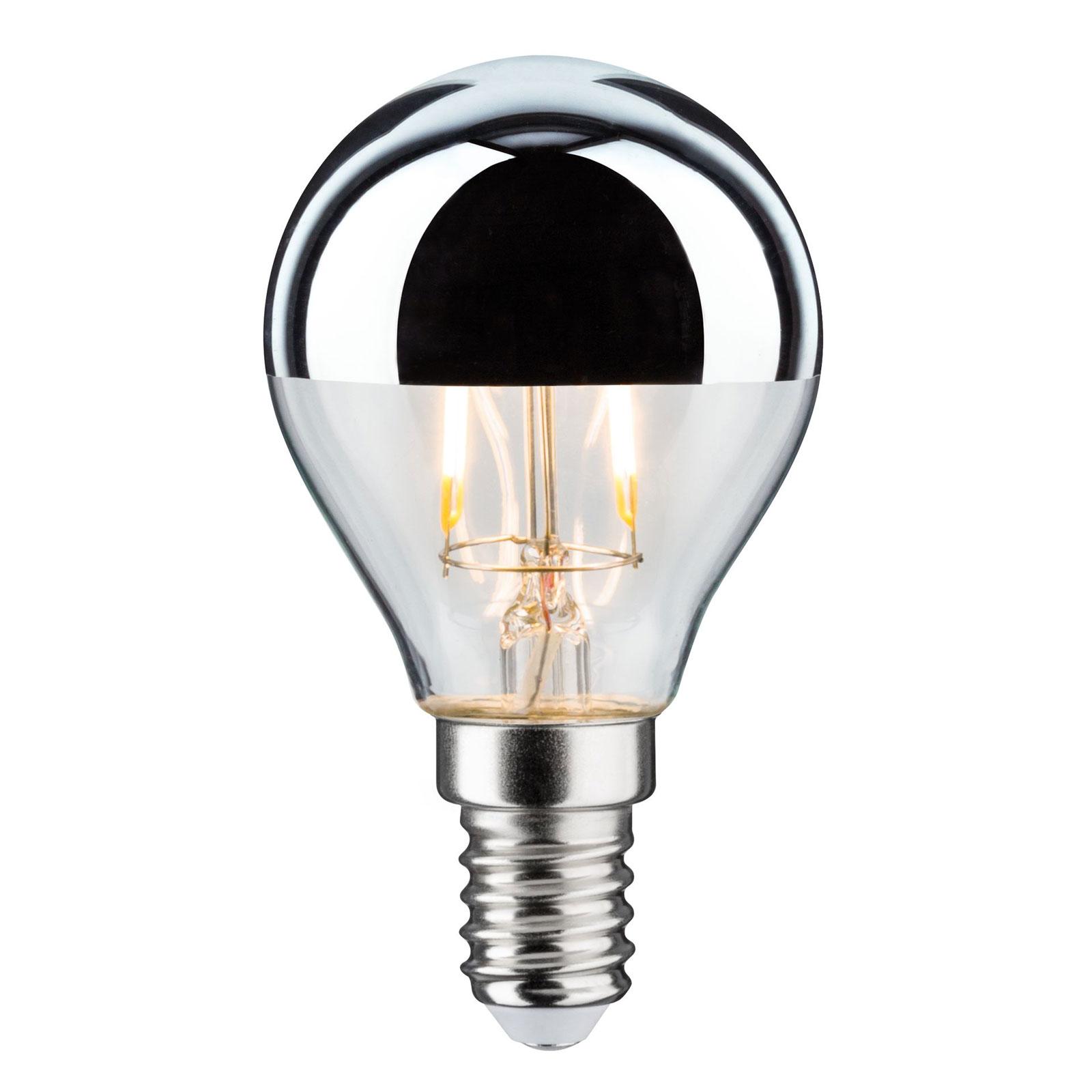 LED-pære E14 827 dråbe, topforspejlet, sølv 2,6W