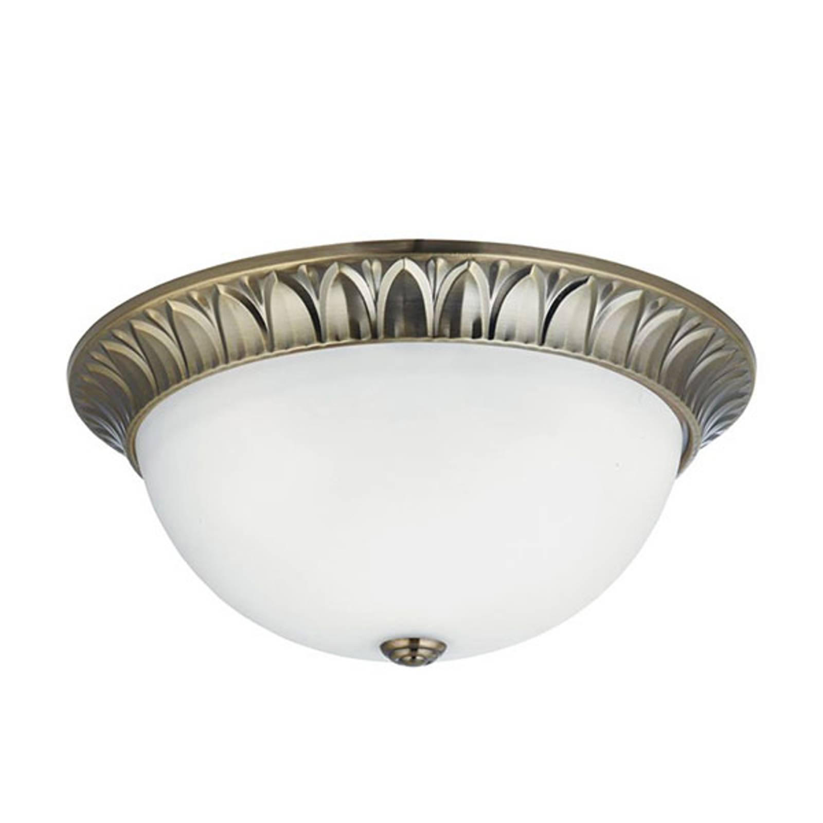 Glas-plafondlamp Flush messing antiek, Ø 38cm