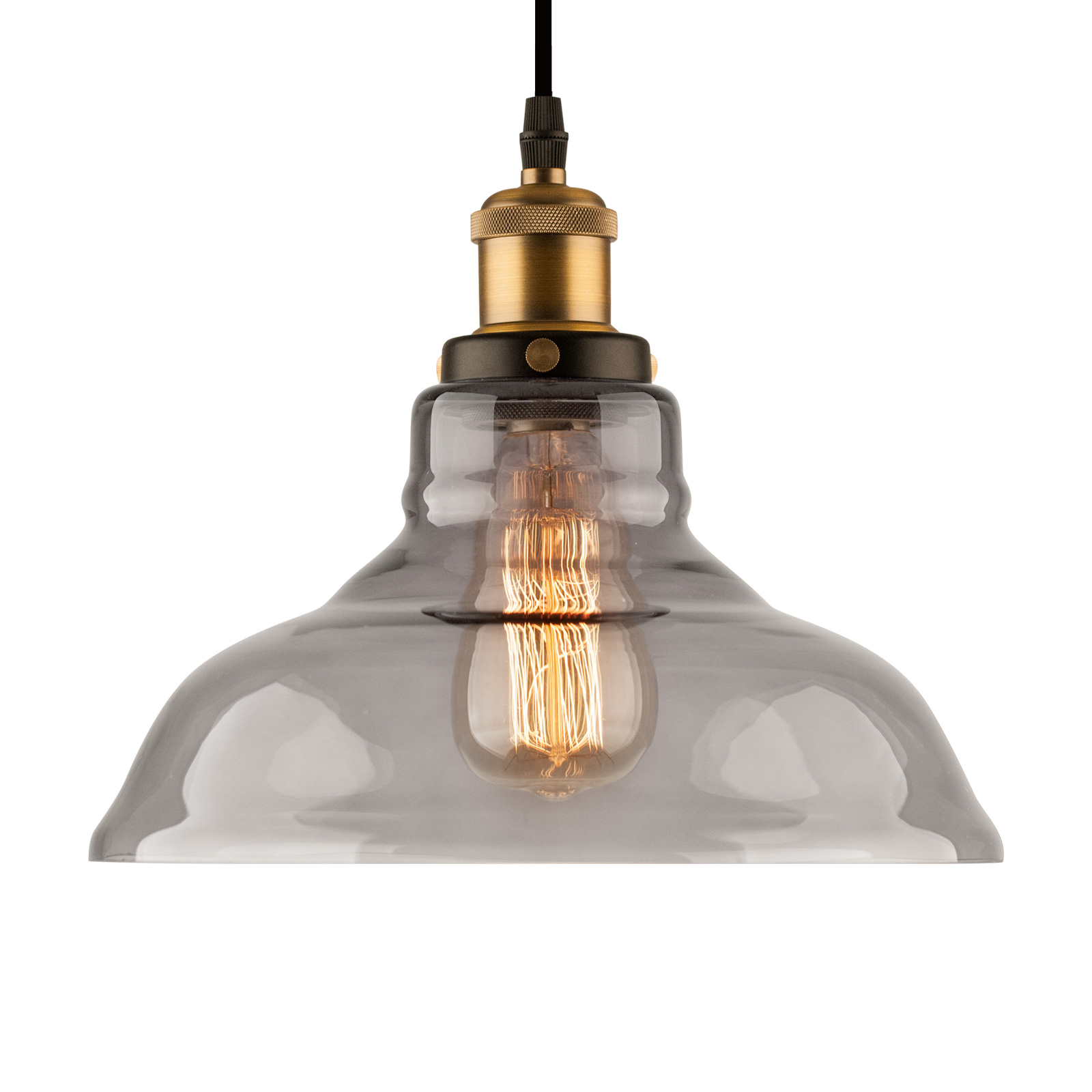 Hanglamp LA040 E27 Ø 28 cm messing/rookgrijs