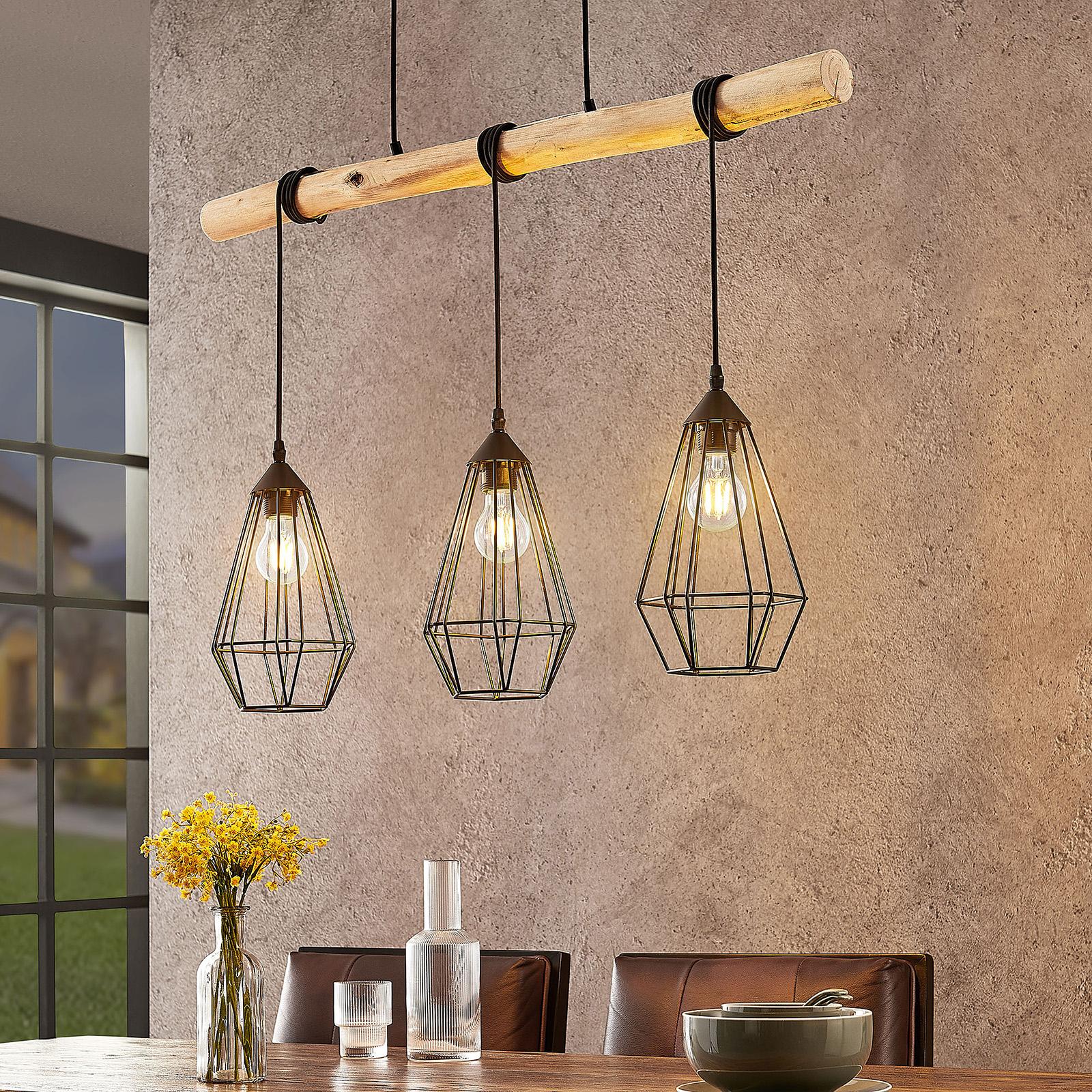 Lindby Eldarion pendellampe med træbjælker, 3 lys.