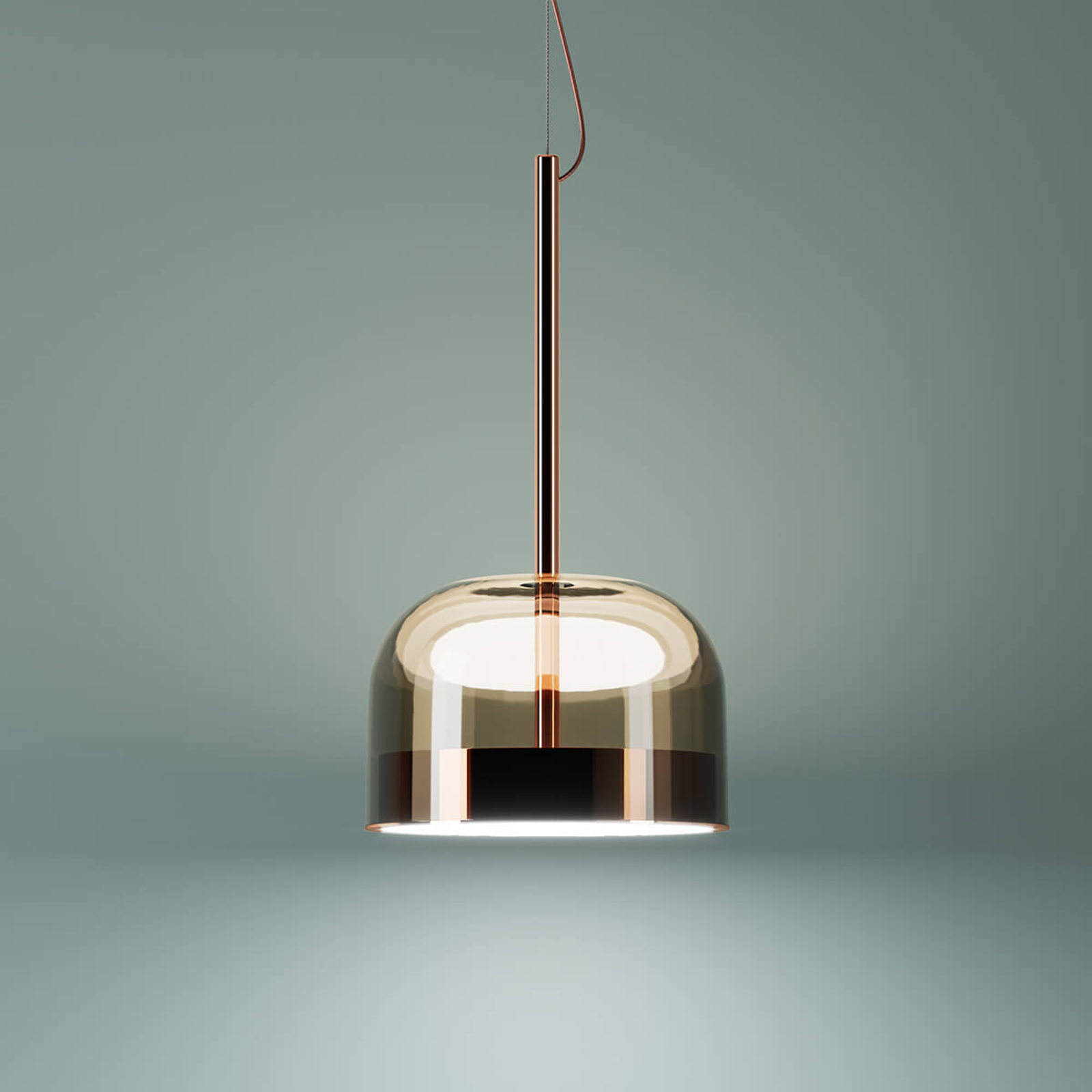 Kobberfarget LED pendellampe Equator, 23,8cm