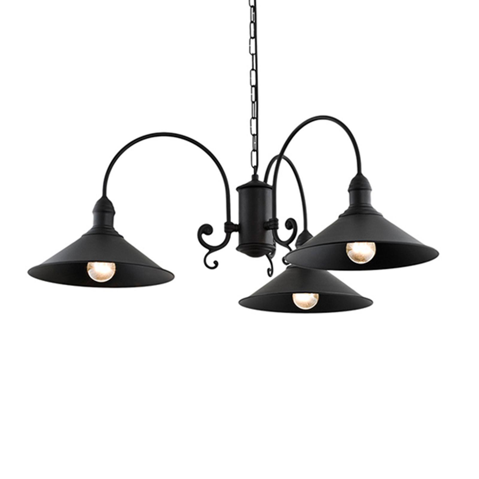 Elmo hængelampe, 3 lyskilder, sort
