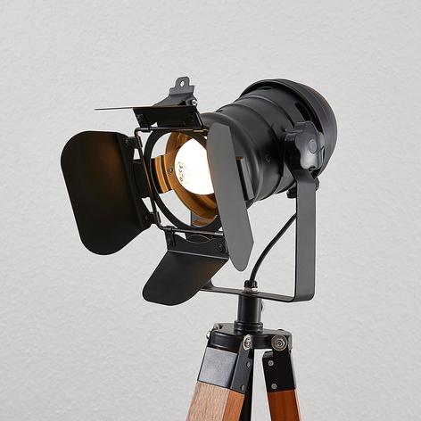 Lámpara de pie de madera Hilma, armazón de 3 patas