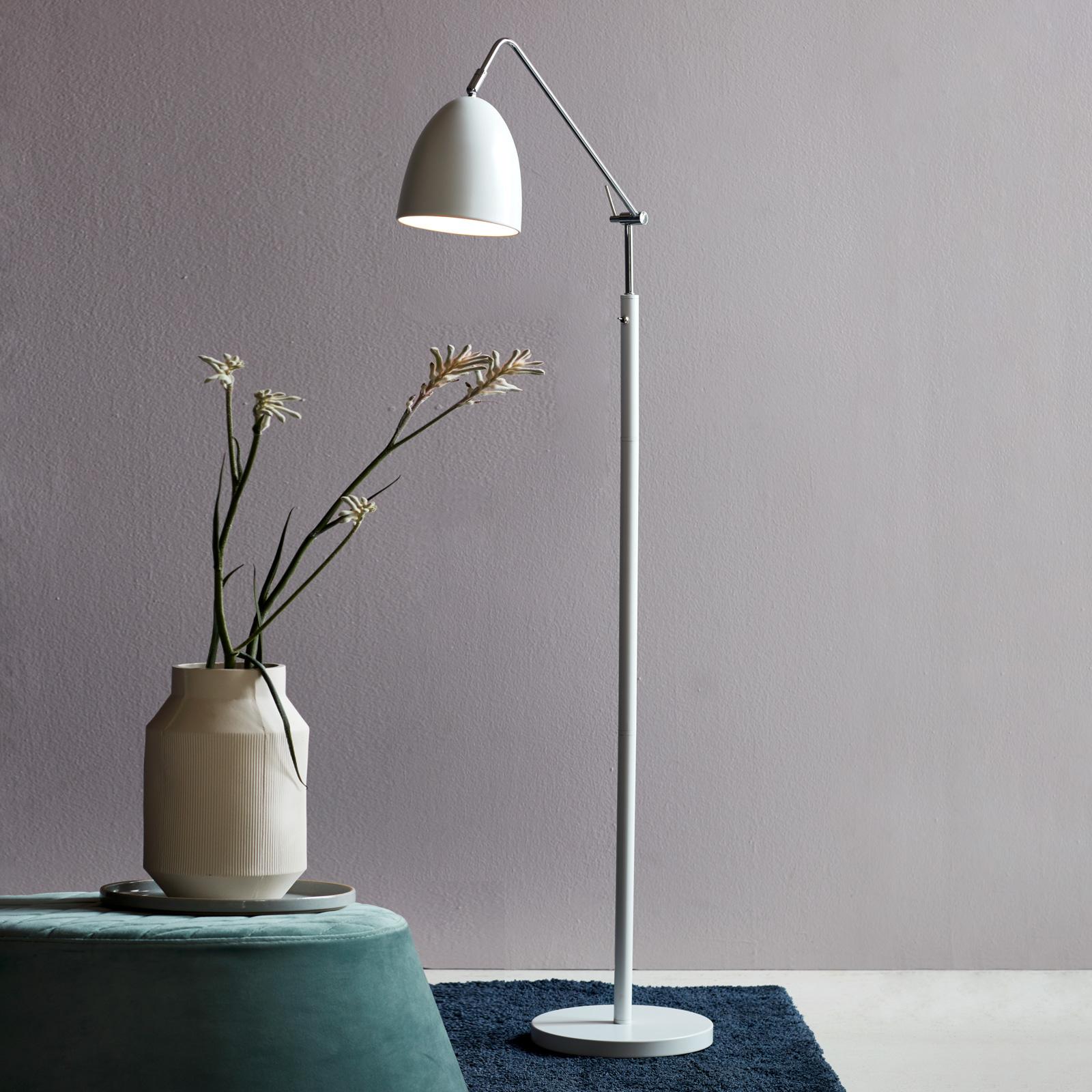 Deliziosa lampada da terra Alexander, bianco