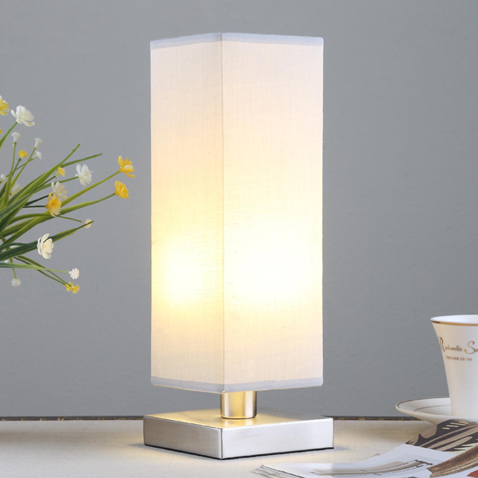 Julina - Textil-Nachttischlampe in hellem Grau