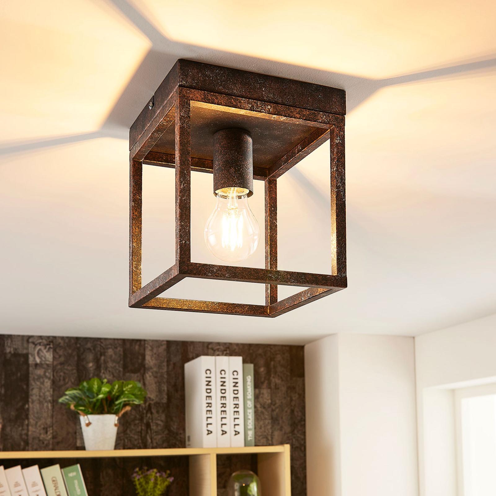 Rustykalna lampa sufitowa Emin z metalową ramą