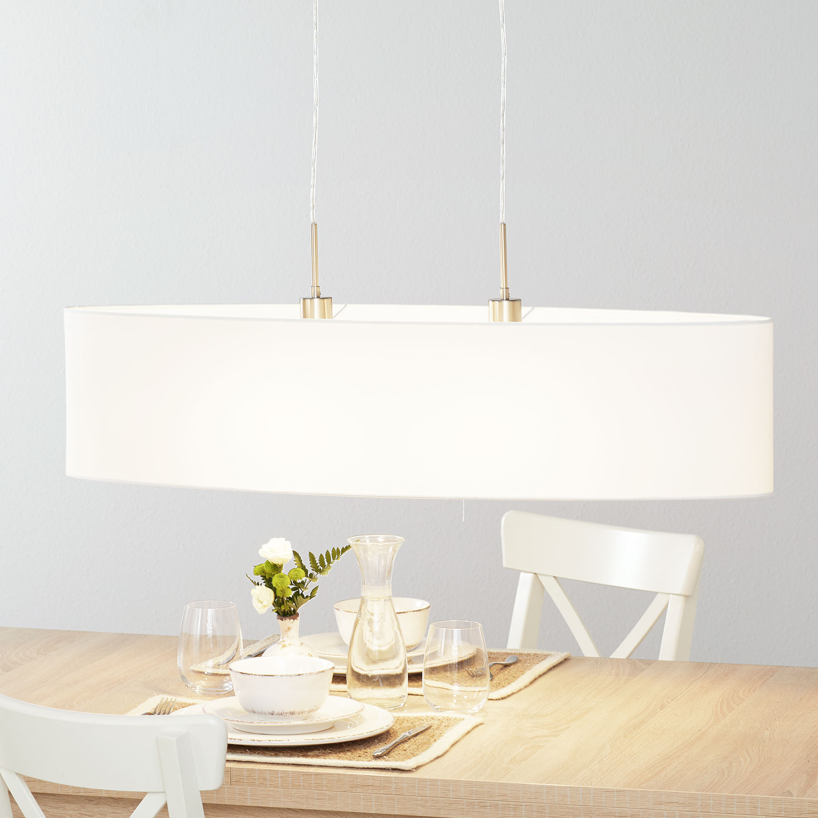 Lucande Patrik textiel-hanglamp 100cm wit