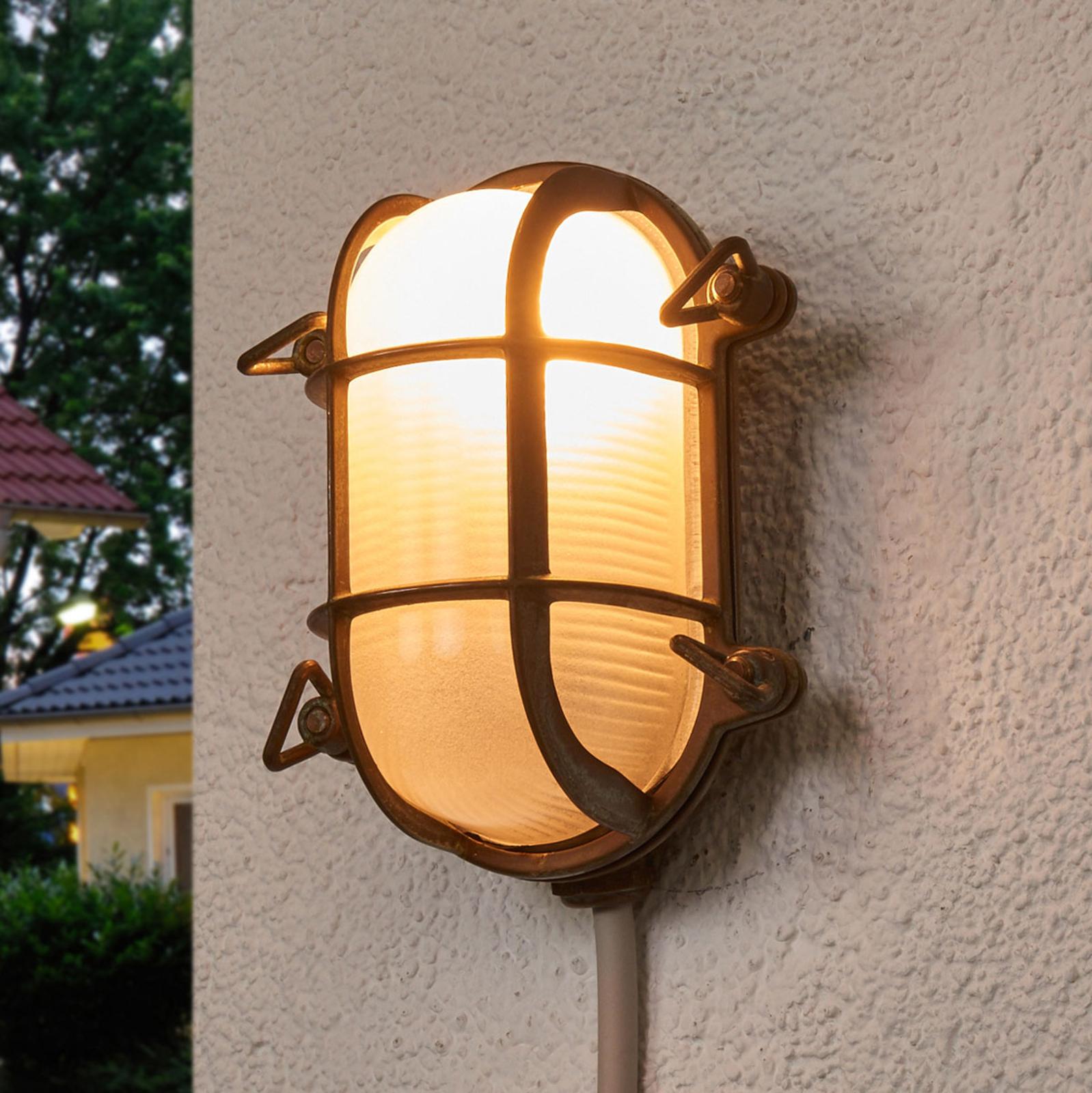 Ovale buitenwandlamp Bengt antiek-messing