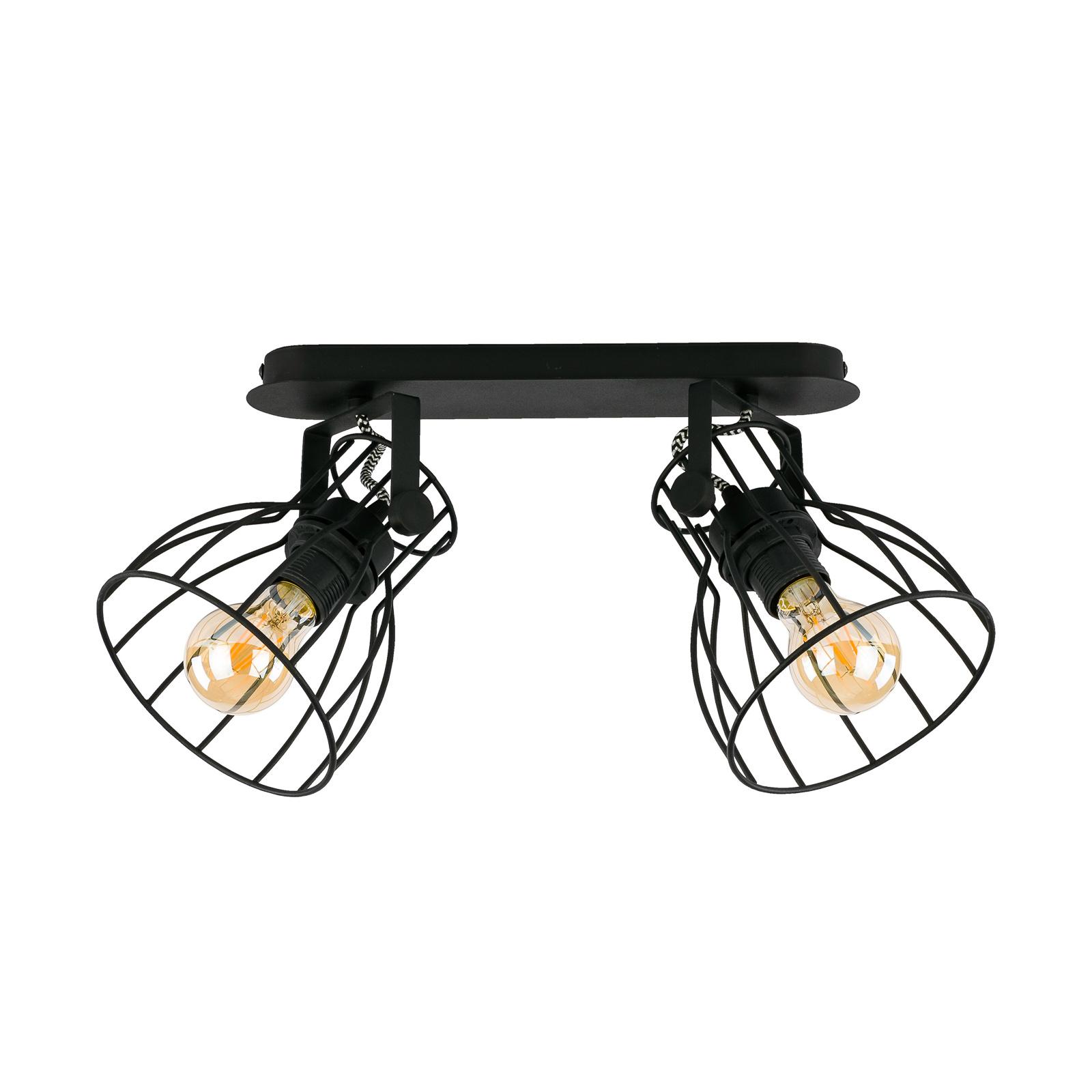 Plafoniera Alano, nero, 2 luci