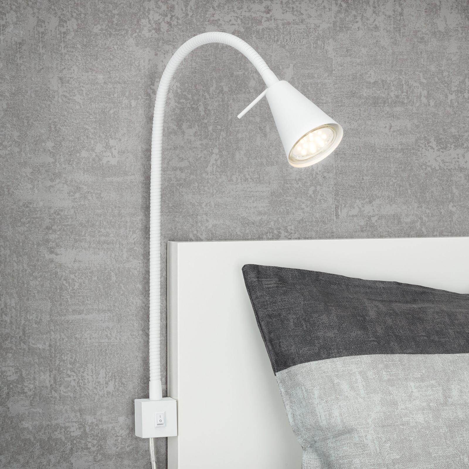 LED-vegglampe 2080 til montering på sengen, hvit