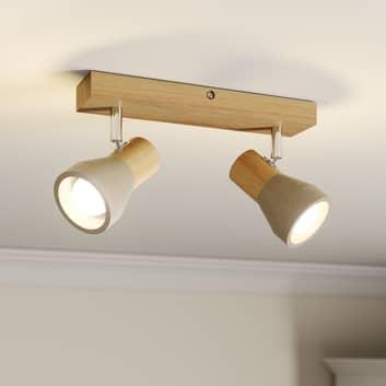 Plafonnier Filiz en bois et béton à ampoules LED