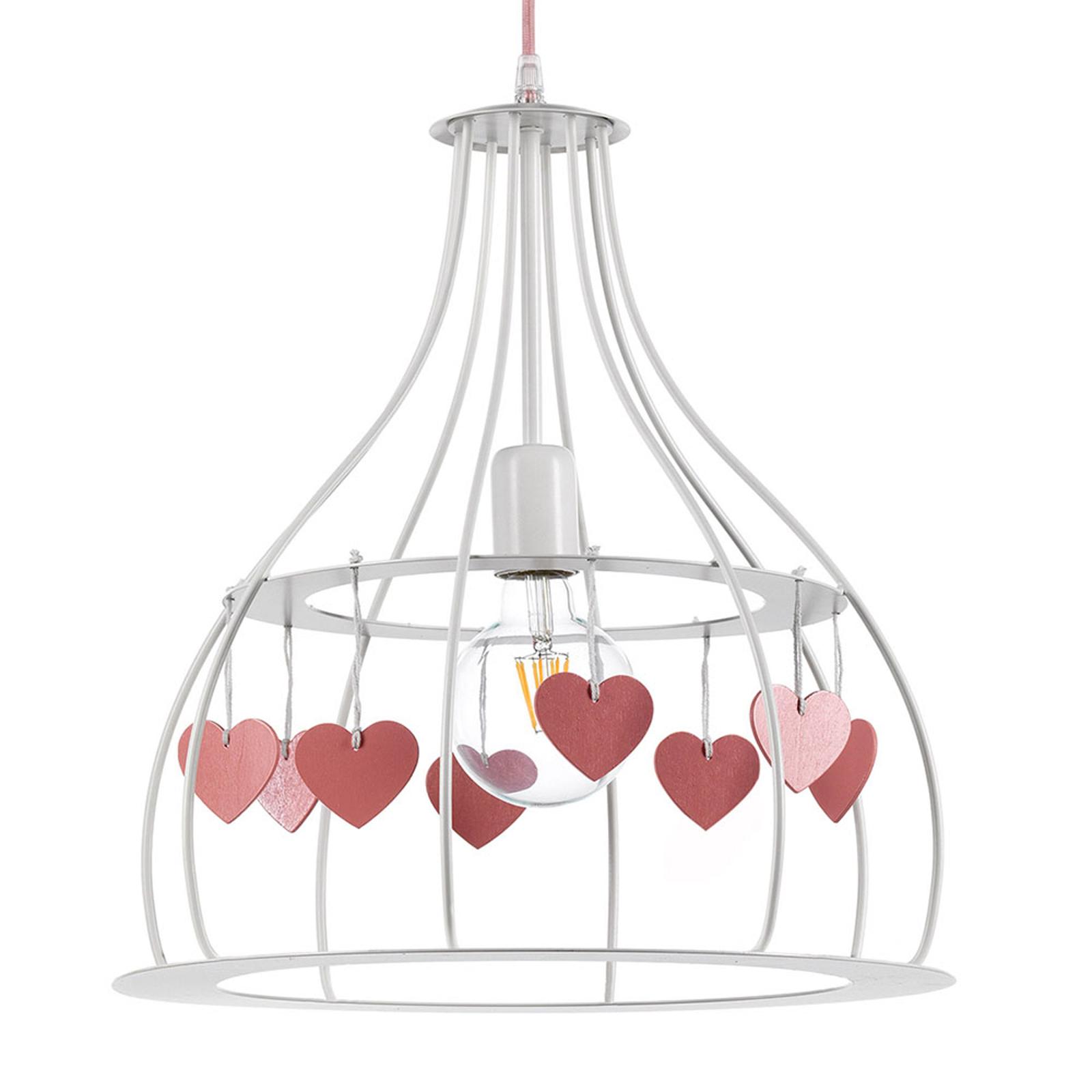 Hengelampe Titta i hvit med rosa hjerter