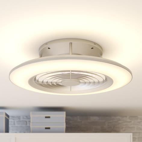 Arcchio Fenio -LED-kattotuuletin valolla, hopea