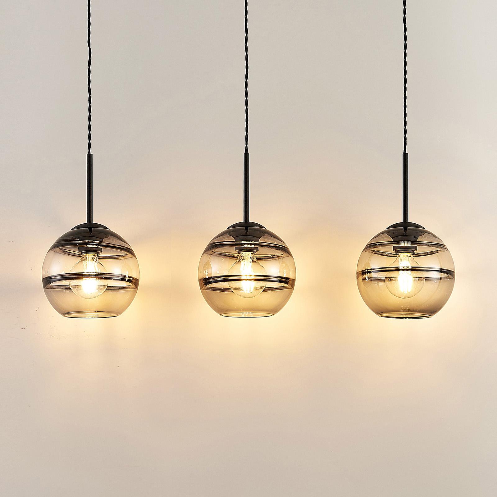 Lucande Ably -riippuvalaisin, savulasia, 3-lamp.