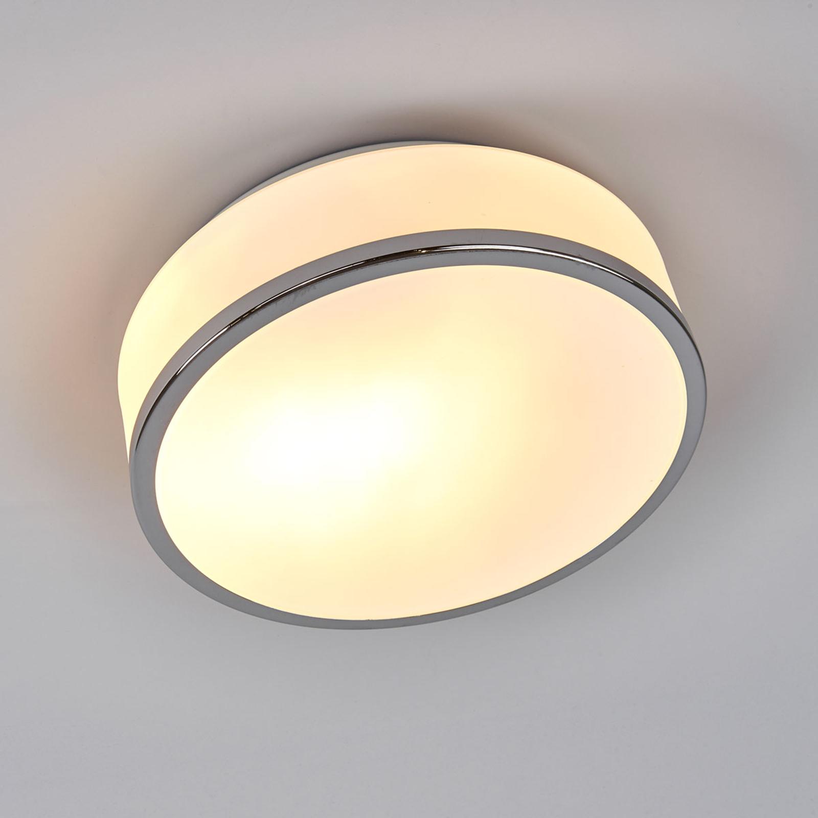 Lampa sufitowa Flush IP44, Ø 23 cm, srebrna