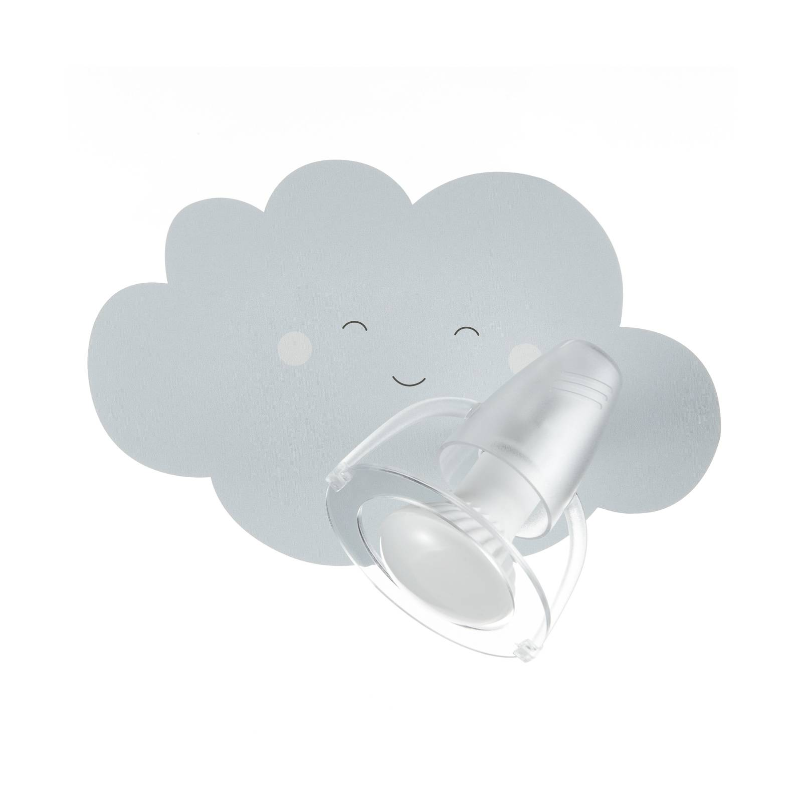 Wandleuchte Wolkengesicht in Grau mit Spot