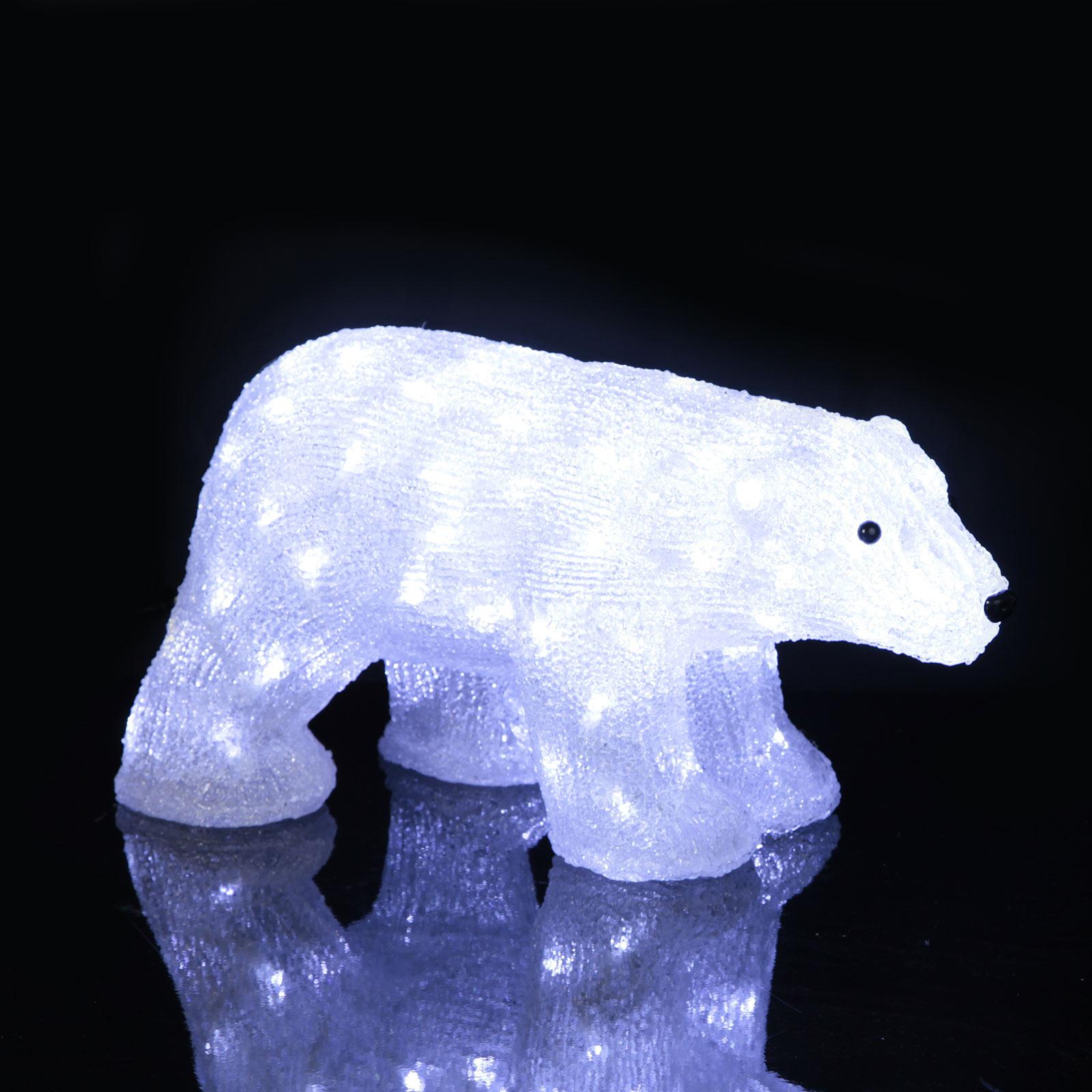 LED-figur Crystalo isbjörn, utomhus, längd 49,5 cm
