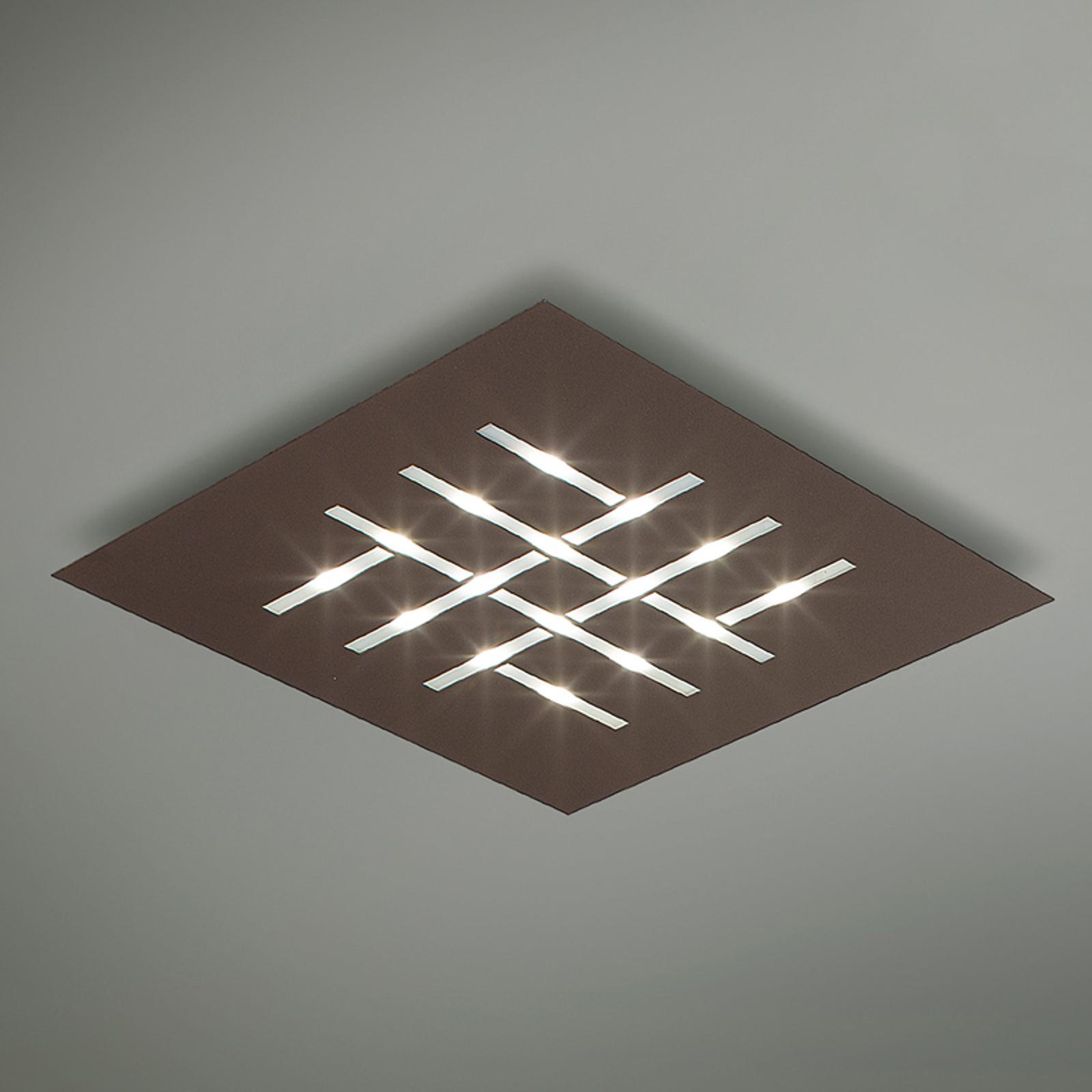Plafonnier LED carré Pattern, brun