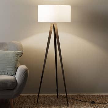 Lámpara de suelo trípode Benik, blanca, nogal
