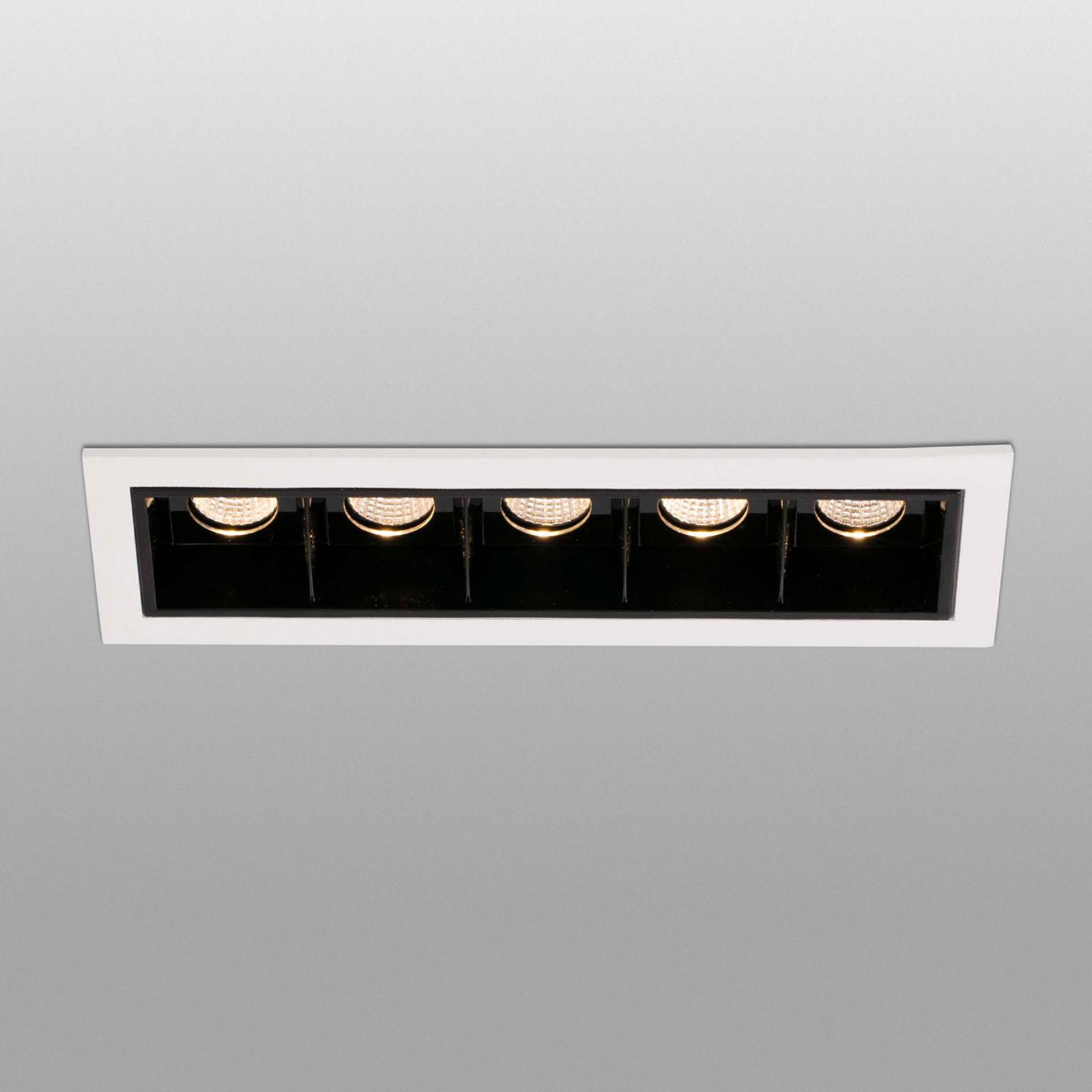 Spot LED incasso Troop con telaio, 5 luci