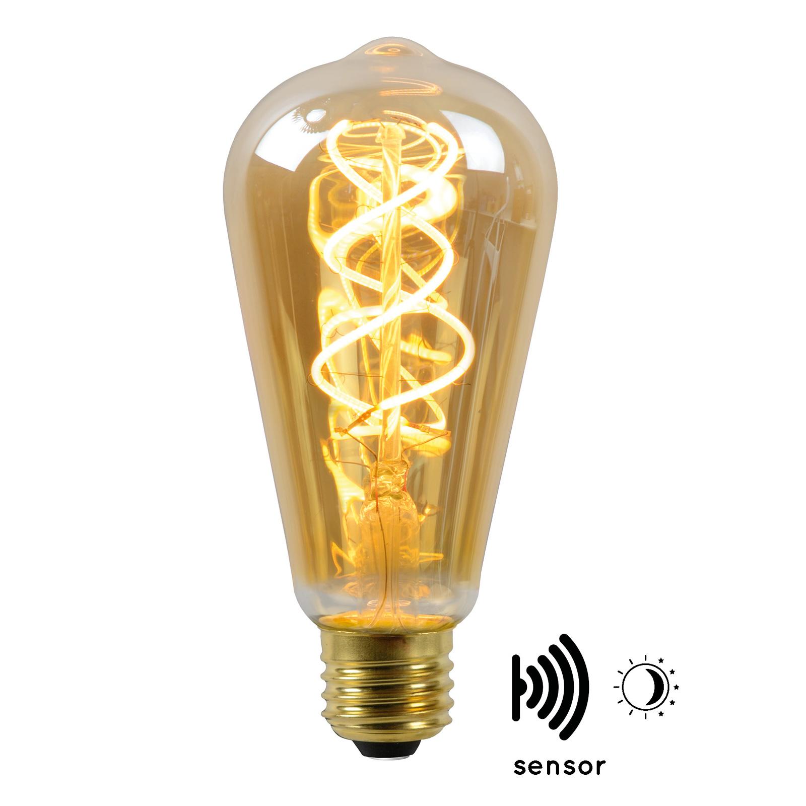 Lampadina LED E27 ST64 4W 2.200K ambra con sensore