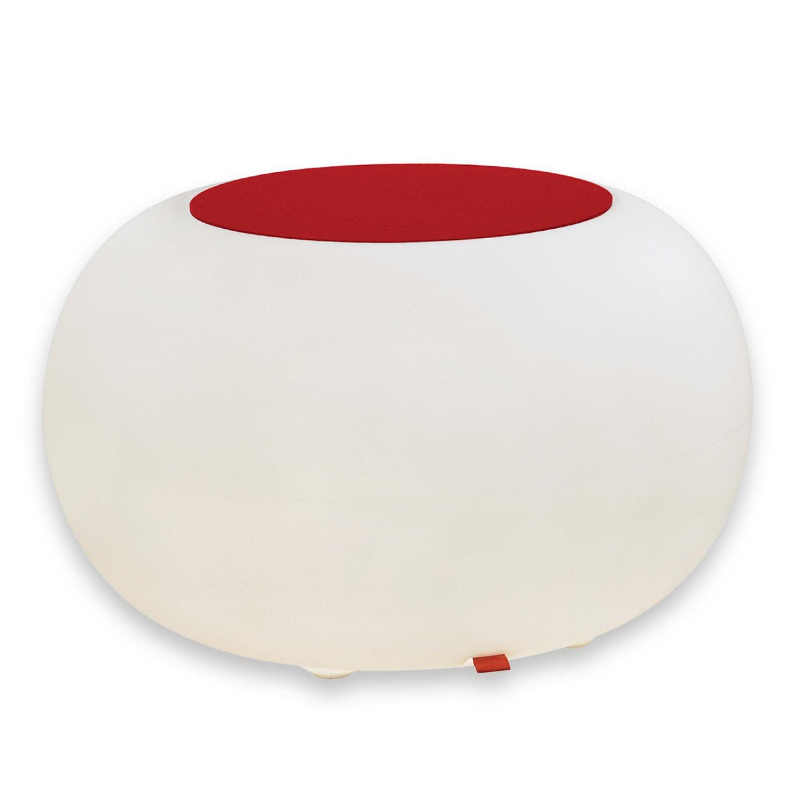 Table d'appoint BUBBLE blanche avec feutre rouge