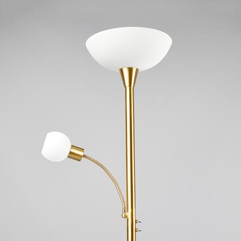 Stojací LED lampa Elaina, čtecí světlo, mosazná