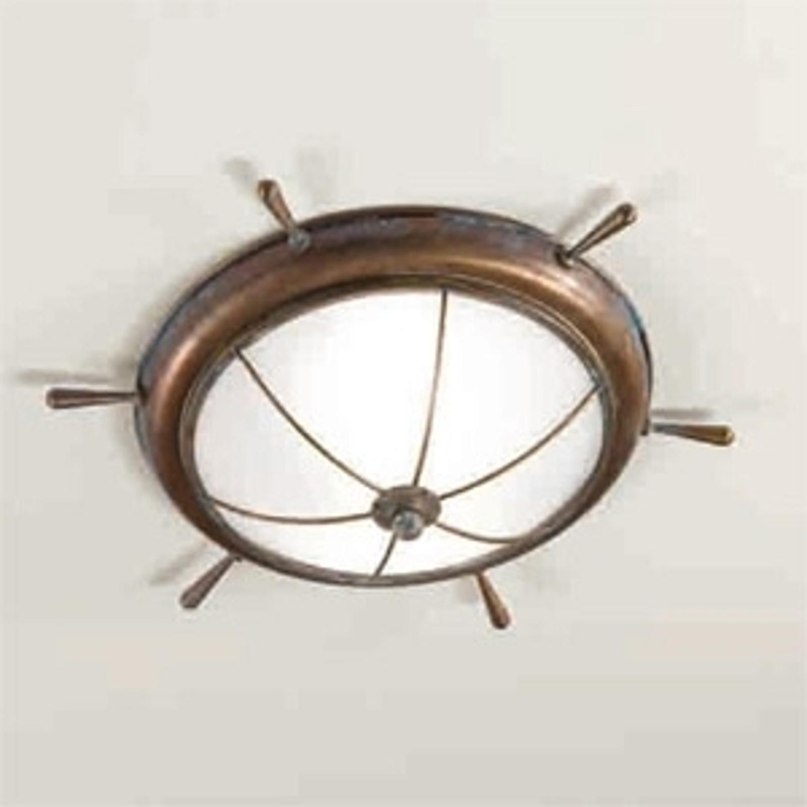 Maritim plafondlampa Libeccio, glänsande bronserad