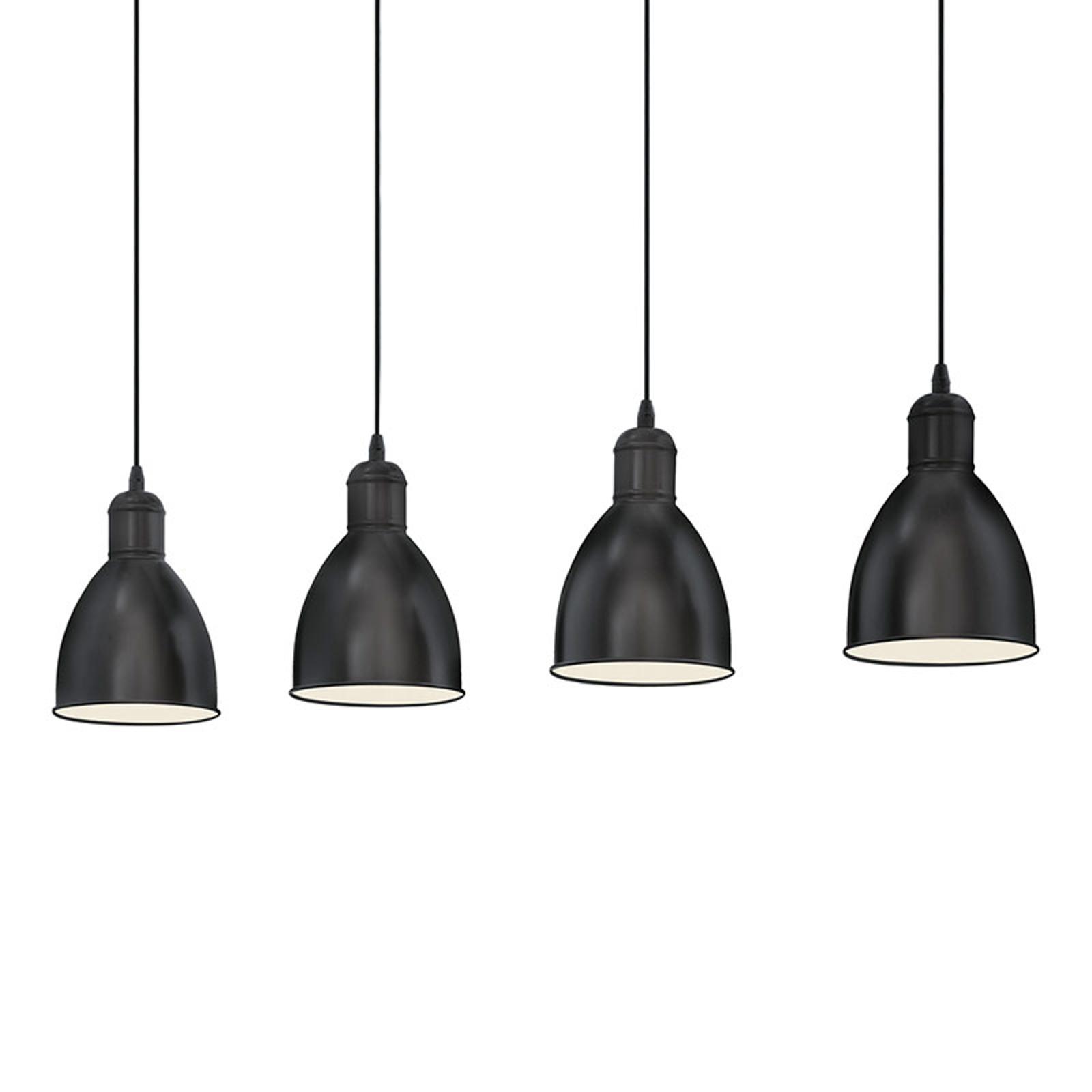 Lámpara colgante Priddy con 4 pantallas negras