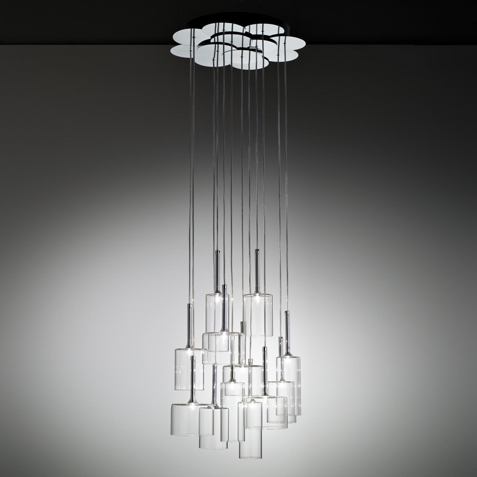 Lampada a sospensione di vetro Spillray a 12 luci