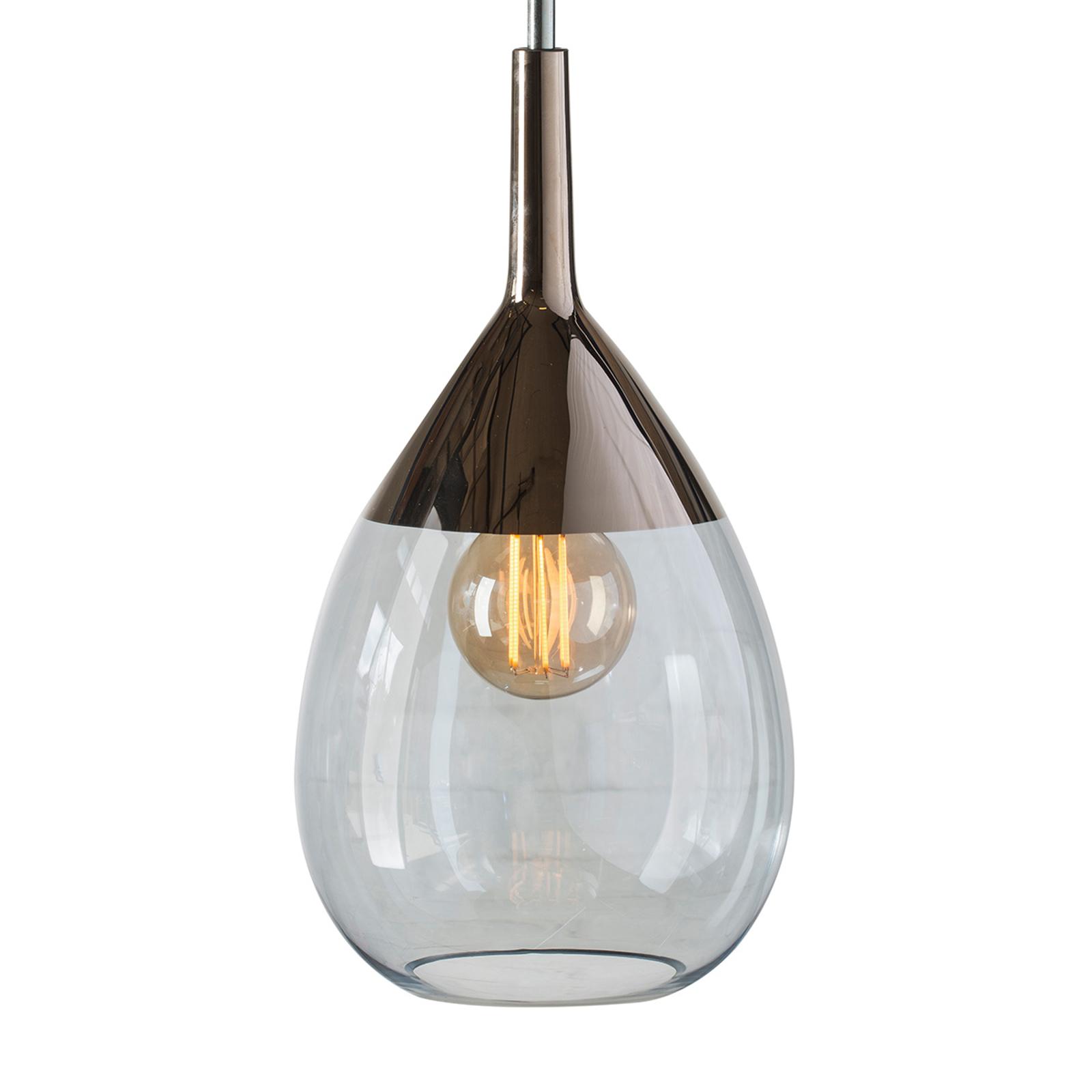 EBB & FLOW Lute hanglamp platina, glas blauw