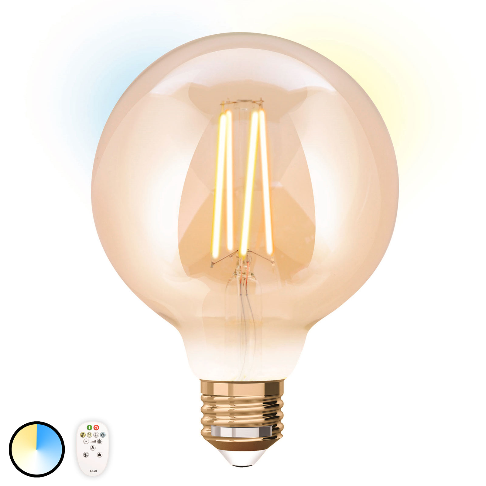 iDual żarówka LED E27 9W z pilotem 9,5cm