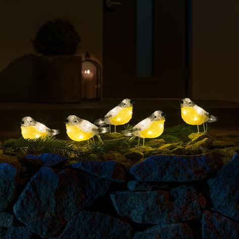 LED-Leuchtfiguren Vögel für außen, 5er-Set