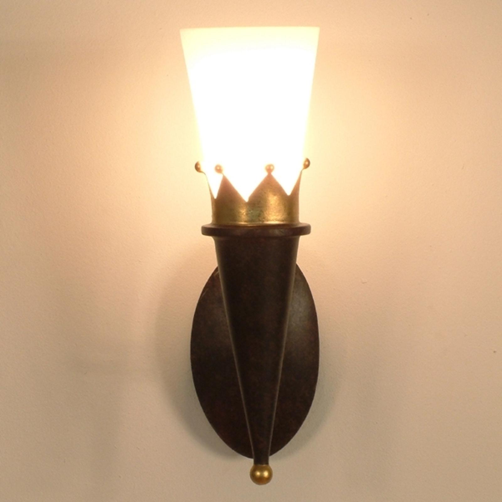 Rustieke wandlamp CORONA met gouden versiering