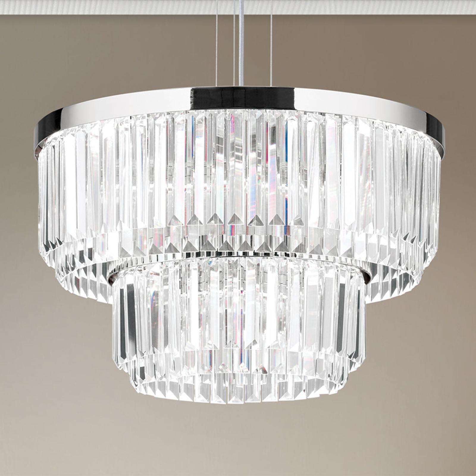 LED-hengelampe Prisme, rund, krom