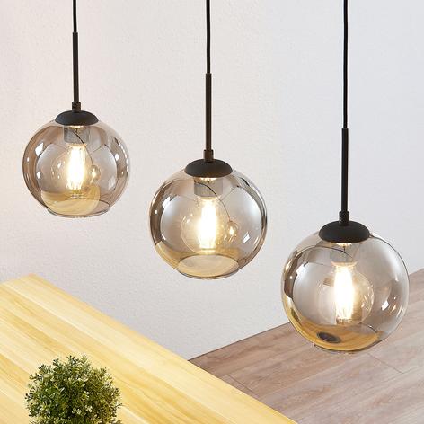 Lindby Sofian hänglampa, 3 lampor, rökgrå