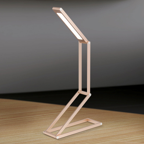 Praktische LED-Tischlampe Falto m. Akku gold