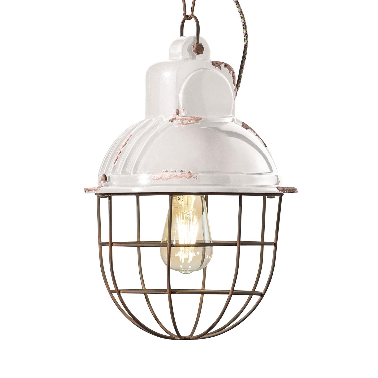 Hanglamp C1770 in industrieel ontwerp, wit